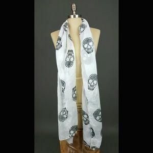White & black skull scarf